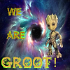 "mirrorofsmoke: The words ""We are Groot"" and a picture of Baby Groot on an icon with a swirly galaxy background. (Default)"