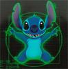 oloriel: Stitch (from Disney's Lilo and Stitch) posing after the manner of Leonardo da Vinci's Vitruvian Man. (grins)