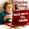 "jesse_the_k: Linda Hunt (Hetty from Criminal Minds) frowns at her laptop, labelled ""Situation Critical: much more tea needed"" (critical send more tea)"