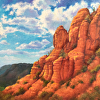 vulpines: red rock formations against a blue sky with puffy white clouds (room for one more troubled soul)