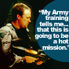 "runpunkrun: rodney mckay with a gun, text: ""My Army training tells me...this is going to be a hot mission."" (rodney's in army now)"