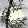 lysapadin: pen & ink painting of bamboo against a full moon (bamboo)