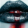 saltwater_blood: Black lips and white skin, with red liquid trickling from between the lips (Thirst)