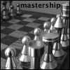 mastership: Black and white photograph of a brushed steel chess set at rest. (Mastership.)