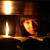 skygiants: young Kiha from Legend of the First King's Four Gods in the library with a lit candle (flame of knowledge)