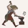 sheliak: Karis G'deon, with anvil (industrious)