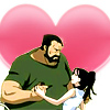 skygiants: Izumi and Sig Curtis from Fullmetal Alchemist embracing in front of a giant heart (curtises!)