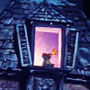 turlough: Scat Cat playing his trumpet in a lighted attic window, Disney's 'Aristocats' ((disney) guiding light)