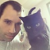 roadrunnertwice: Yrs truly and a little black cat. (Me - w/ Frankie)
