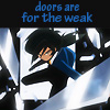 skygiants: Fakir from Princess Tutu leaping through a window; text 'doors are for the weak' (drama!!!)