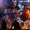 skye_writer: Cropped screencap from Pacific Rim featuring Mako and Raleigh silhouetted against Gispy Danger. (pacific rim)