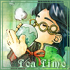 dame_grise: Citan Izuki (Xenogears) drinking tea with caption: Tea Time (Tea Time!)