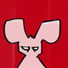 staxxy: an angry looking pink bunny on a red background (Angry Bunny)