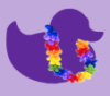con_txt: purple duck outline with rainbow colored lei around it's neck. (purple duck w/lei)
