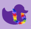 trixie: purple duck outline with rainbow colored lei around it's neck. (purple duck w/lei)