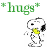 "belle_meri: Image of Snoopy hugging Woodstock captioned ""hugs"". (Snoopy Hugs)"