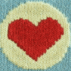 jesse_the_k: Knitted red heart in yellow circle on green field (Beating Heart of Love GIF)