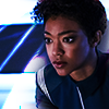 monanotlisa: Michael Burnham, half-profile, blue-and-silver, in her uniform (michael burnham - dsc)