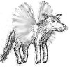 hummingwolf: Drawing of a creature that is part-wolf, part-hummingbird. (Hummingwolf by Dandelion)