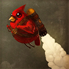 midnightjuly: cardinal wearing a jetpack! (is the word)