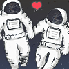 runpunkrun: drawing of two astronauts floating in space and holding hands (i love the whole world)