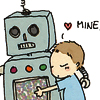 "runpunkrun: chibi rodney mckay hugs a robot and thinks ""mine"" (robot scientist)"