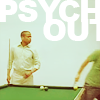 runpunkrun: burton guster standing by a pool table, shawn spencer moving blurrily out of frame, text: psych out (time to fight some crime)