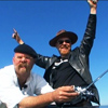 runpunkrun: jamie hyneman holding a radio transmitter, adam savage standing behind him with his arms in the air, triumphant (science: it works)