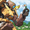 configuration_birdwatcher: Bastion kneels down by some flowers and picks one of them. Ganymede watches from their shoulder. (picking a flower)