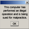 doranwen: a computer error dialog box with humorous text (This computer has performed)