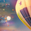 aubergine: Hot air balloon and moon in the sky (moon balloon)