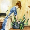 keshwyn: A woman attempts to stuff an octopus into a dutch oven. (cooking)