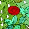 julchen_in_red: Stained glass of raindrops falling on a red Mackintosh rose (red, rose)