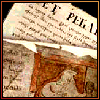 ellen_fremedon: overlapping pages from Beowulf manuscript, one with a large rubric, on a maroon ground (0)
