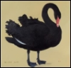 nightdog_barks: Painting of a black swan on a gold background (Black swan)