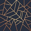 amahami: a geometric design made with bronze or copper coloured designs on a dark blue background. (ravenclaw)