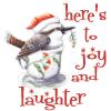 sally_maria: cartoon christmas bird in cup - here's to joy and laughter (Christmas - joy and laughter)