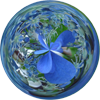 helensaito: A collection of bright blue hydrangeas in a glass bubble. (Default)