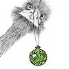 kaffyr: An ostrich holding a Christmas tree decoration (Christmostrich)