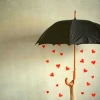 frith_in_thorns: An open black umbrella with small red hearts falling out of it (.Love)