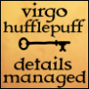jenett: Virgo Hufflepuff : Details Managed (black text on gold, with a black key) (details managed)
