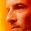 green: extreme closeup of peter hale's profile in orange and red (teen wolf: red peter)