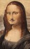 jjhunter: Closeup of the face from postcard of da Vinci's 'Mona Lisa' with alterations made by Duchamp, i.e. moustache and goatee. (LHOOQ)