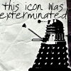 """jadesfire: Drawing of dalek on crumpled paper with text """"this icon was exterminated"""" (Icon exterminated)"""