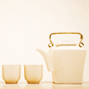 jadesfire: two white tea cups and white tea pot (Tea pot and cups)