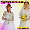 katarik: Tokusou Sentai Dekaranger: Jasmine and Umeko ending credits, wedding gowns, text spd: japanese lesbians (SPD approves of your gay marriage.)
