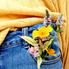 muccamukk: Close up of a posy in a woman's jeans pocket. (Misc: Garden)