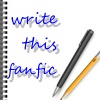 writethisfanfic: a spiral bound notebook with pen and pencil on top with the text writethisfanfic in blue text (notebook with pen and pencil)