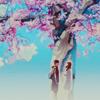 sparkles: standing under a sakura tree (5cm; under the tree)