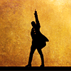 tree_and_leaf: A silhouette of a man in 18th C dress, pointing a gun at the sky (detail from the Hamilton logo) (Hamilton silhouette)